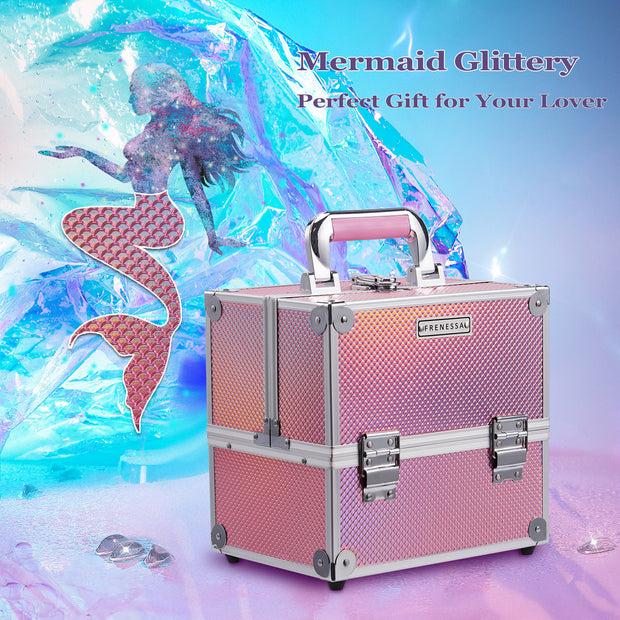 Frenessa Mermaid Glittery Pink Makeup Case - Joligrace