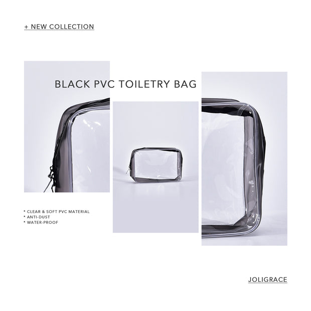 Joligrace Black PVC Toiletry Bag - Joligrace