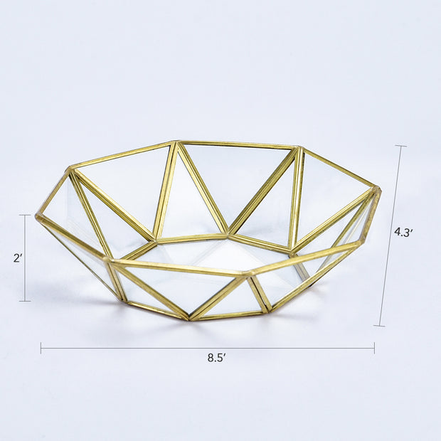 Joligrace Gold Mirrored Tray Hexagon - Joligrace