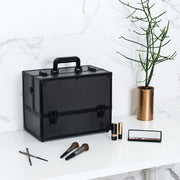 Black Diamond Professional Makeup Train Case with Four Tier Dividing Tray - Joligrace