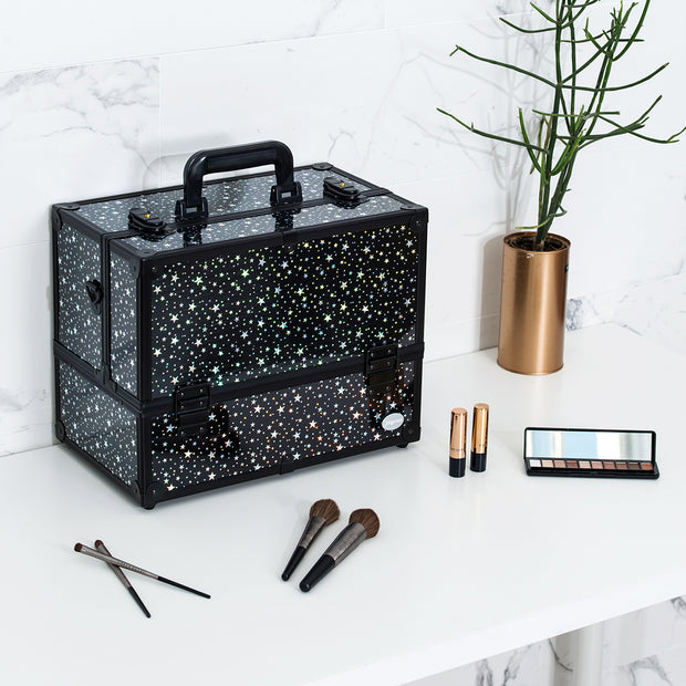 Black Star Print Professional Makeup Train Case with Four Tier Dividing Tray - Joligrace