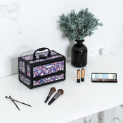 Purple Floral Makeup Train Case with Mirror Carrying Storage Organizer-Joligrace - Joligrace