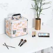 Beige Love Print Professional Makeup Train Case with Brush Holder - Joligrace
