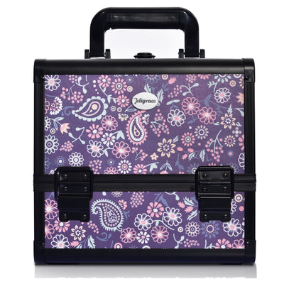 Purple Floral Print Professional Makeup Train Case with Brush Holder - Joligrace