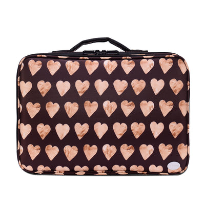 Heart-shaped Print Portable Large Travel PU Leather Soft Makeup Bag - Joligrace