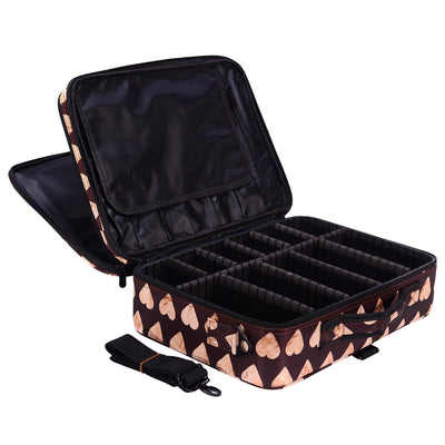 Heart-shaped Print Portable Large Travel Oxford Soft Makeup Bag - Joligrace
