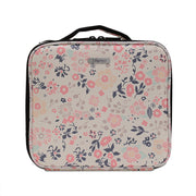 Beige Floral Travel Makeup Bag with Removable Tray Dividers Small-Joligrace - Joligrace
