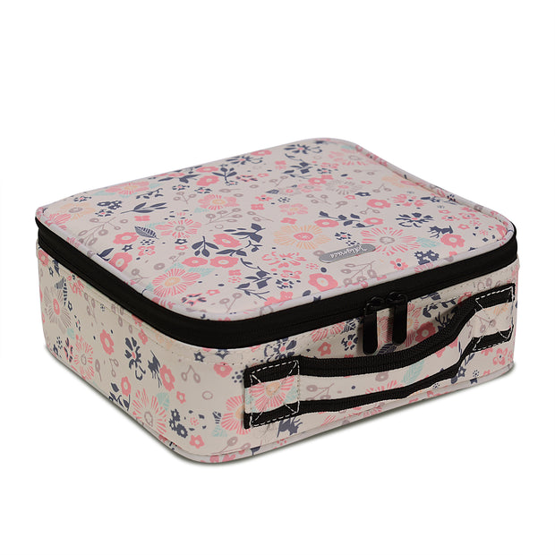 Beige Floral Print Mini Travel Oxford Soft Makeup Bag with Removable Tray Dividers - Joligrace