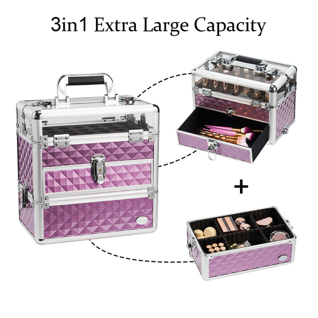 Joligrace Purple Nail Makeup Case