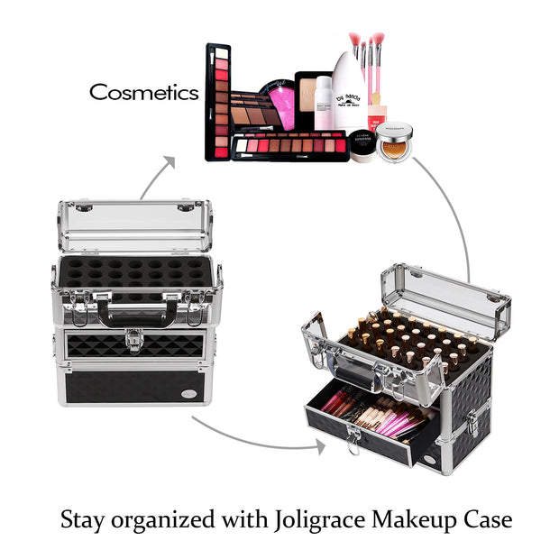 Joligrace Black Nail Makeup Case
