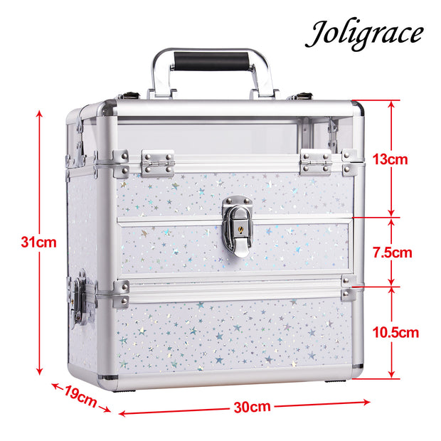Joligrace White Star Nail Makeup Case