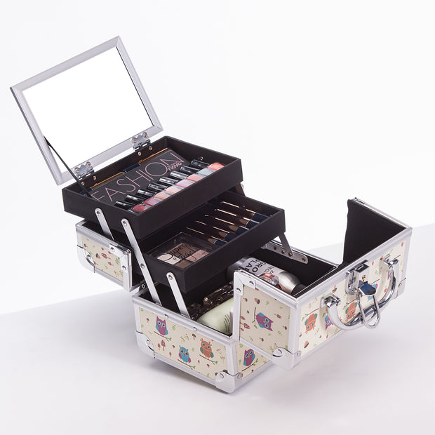 Beige Owl Animal Print Professional Makeup Train Case with Mirror - Joligrace