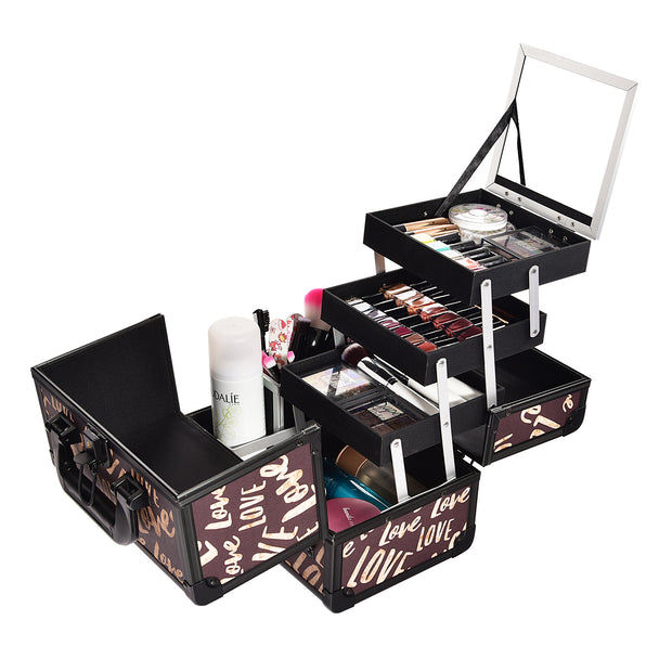 Brown Love Makeup Train Case with Brush Holder Carry Cosmetic-Joligrace - Joligrace