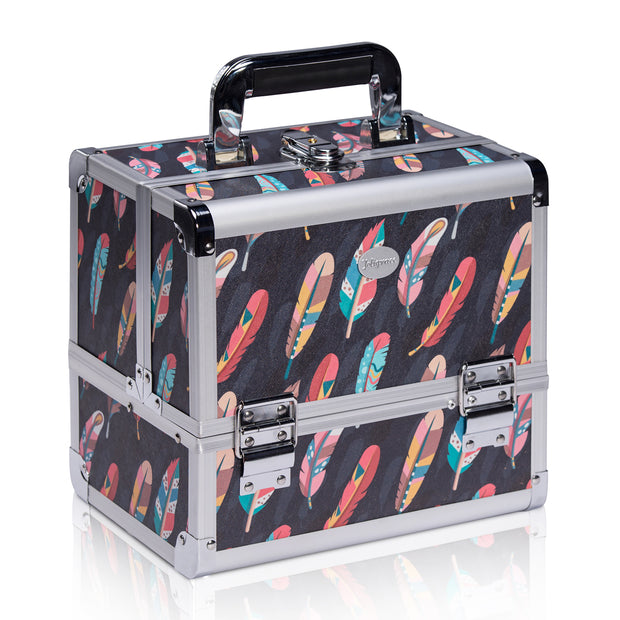 Navy Feather Print Professional Makeup Train Case with Brush Holder - Joligrace