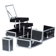Black Diamond Professional Makeup Train Case with Brush Holder - Joligrace