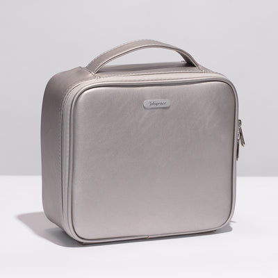 Silver Mini Travel Oxford Soft Makeup Bag with Removable Tray Dividers - Joligrace