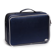 Navy Portable Large Travel PU Leather Soft Makeup Bag With Removable Dividers - Joligrace