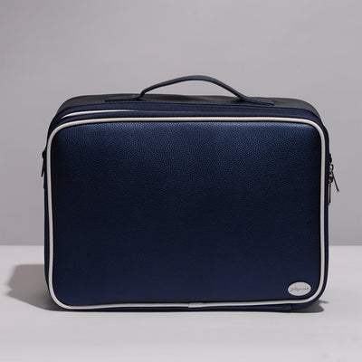 Navy Portable Large Travel Oxford Soft Makeup Bag With Removable Dividers - Joligrace