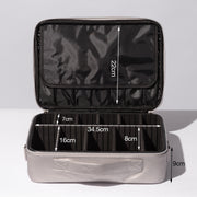 Silver Portable Large Travel PU Leather Soft Makeup Bag With Removable Dividers - Joligrace