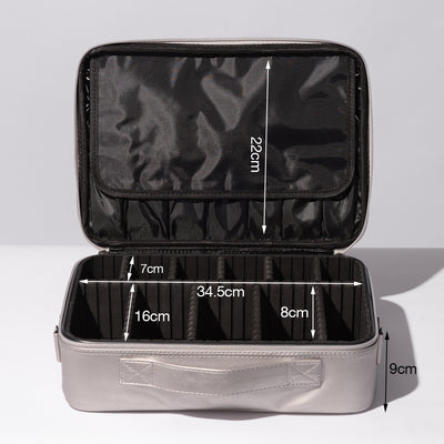 Silver Portable Large Travel Oxford Soft Makeup Bag With Removable Dividers - Joligrace