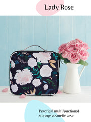 Joligrace Green Rose Print Makeup Bag