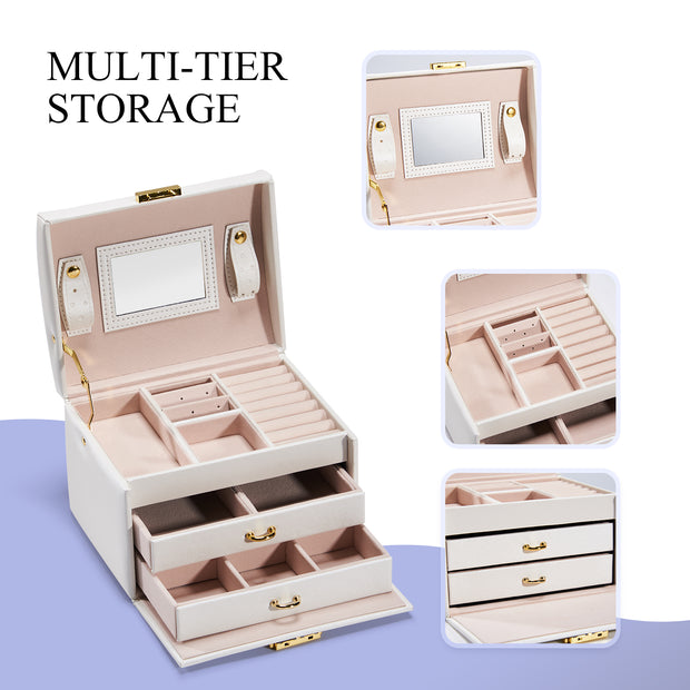 Hododou White with 2 Drawers Jewelry Box