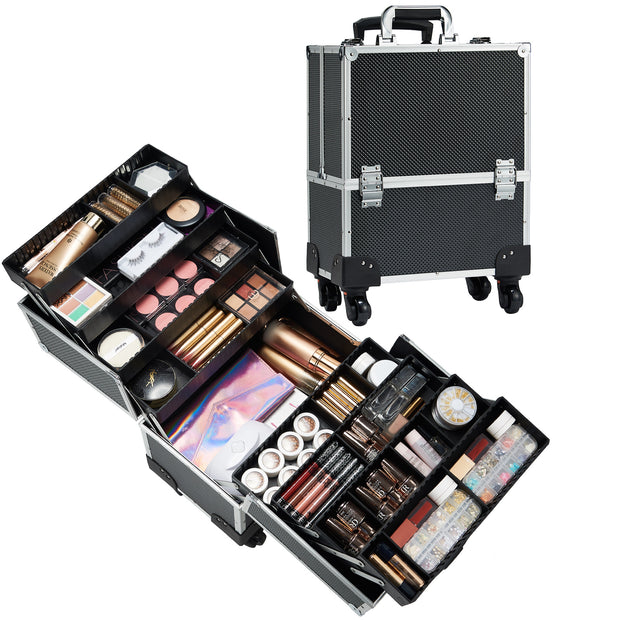 Joligrace Black Rolling Makeup Case with Wheels