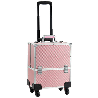 Joligrace Pink Rolling Makeup Case with Wheels