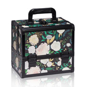 Black Floral Print Professional Makeup Train Case with Brush Holder - Joligrace