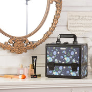 Blue Floral Professional Makeup Train Case with Brush Holder - Joligrace