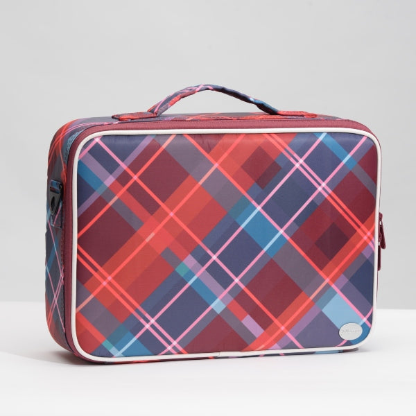 Red Plaid Print Large Travel PU Leather Soft Makeup Bag with Removable Tray Dividers - Joligrace