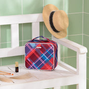 Red Plaid Small Cosmetic Bags Travel Makeup Bag Oxford-Joligrace - Joligrace