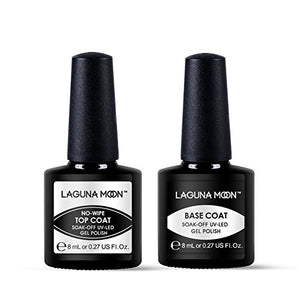 Lagunamoon Gel Nail Polish Soak Off UV LED Gel Base Coat and No Wipe Top Coat Gel Polish Set-8ml
