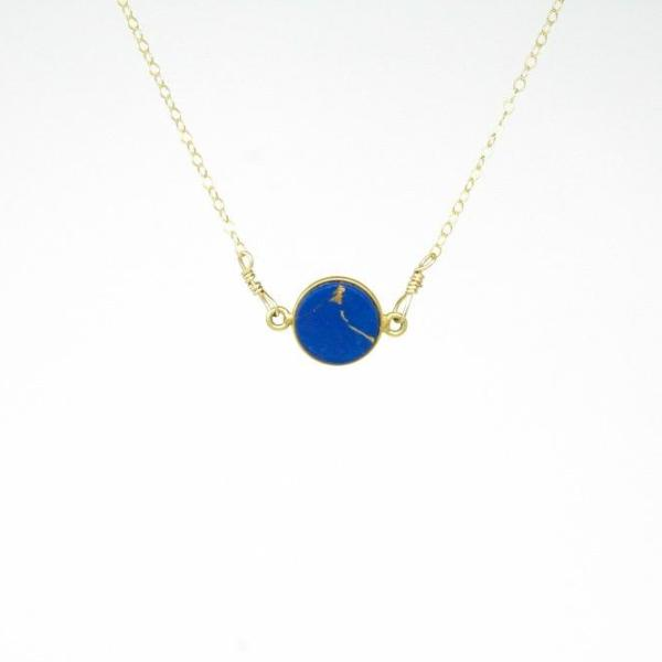 Dark Blue Circle Necklace