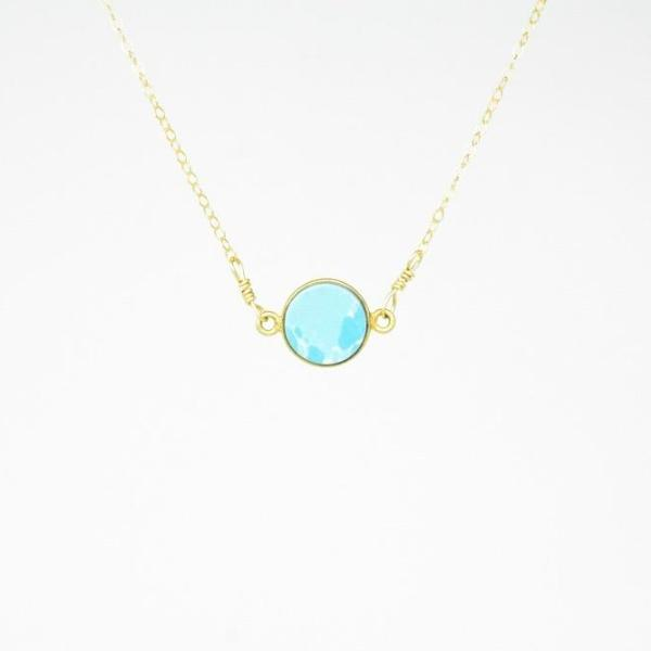 Light Blue Circle Necklace