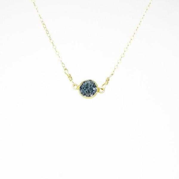 Dark Blue Drusy Necklace