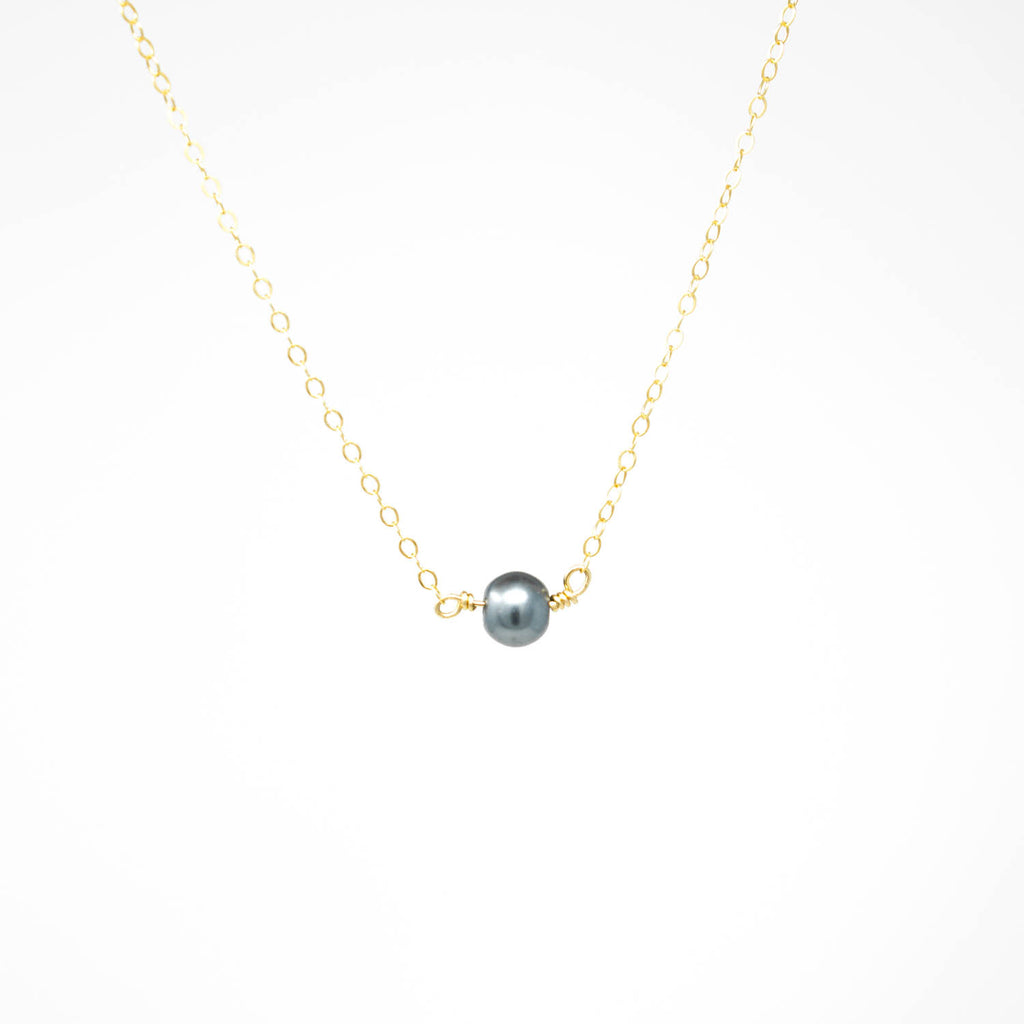 Simple Pearl Necklace - Blue