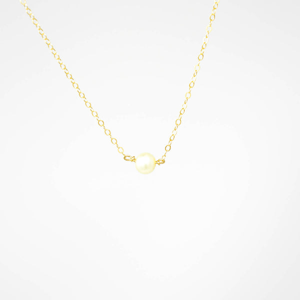 Simple Pearl Necklace - White