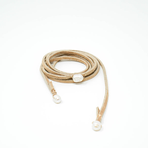 Cream Suede Pearl Wrap Necklace