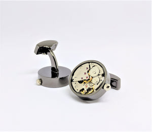 Watch Movement Cuff Links with Gears, Black