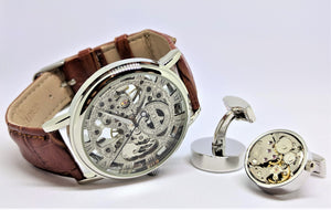 Skeleton Watch and Cuff Link Set, Leather Band