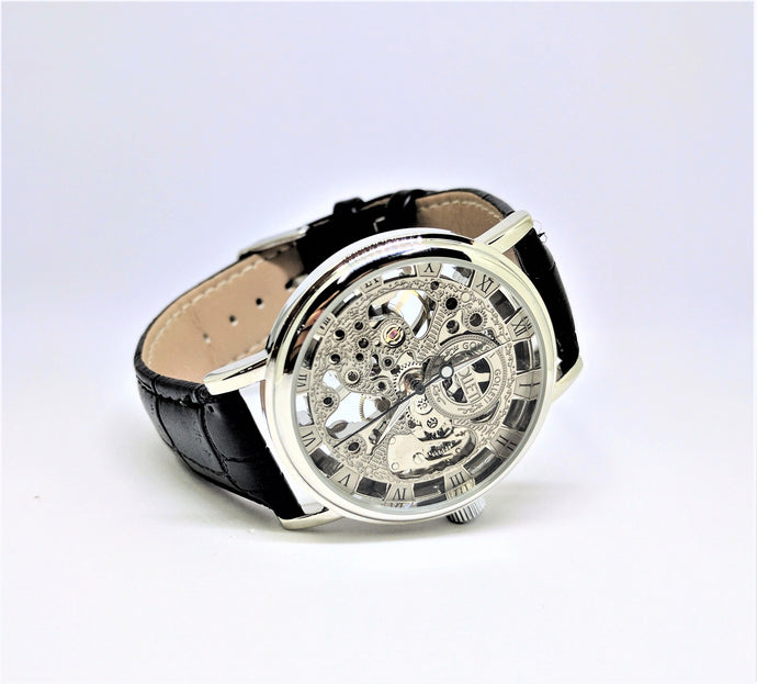 A personalized mechanical watch for men with custom engraving for groomsmen and wedding party