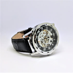Personalized Mechanical Watch, Black, Leather Band