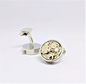 Watch Movement Cuff Links with Gears, Silver