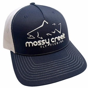 Mossy Creek Logo Trucker Navy White - Mossy Creek Fly Fishing