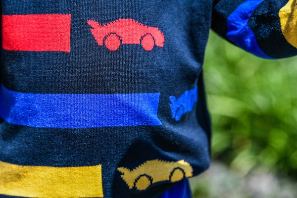 Boy's sweater with racecars