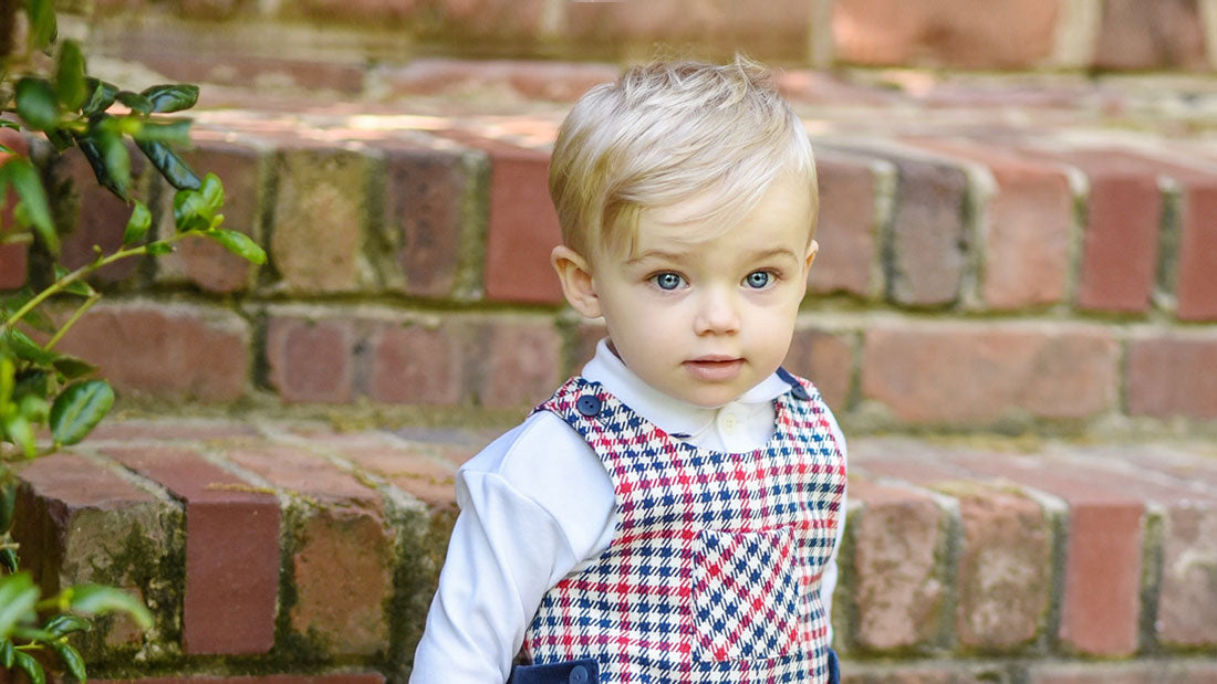 Classic Baby Clothing Red Houndstooth Shortall