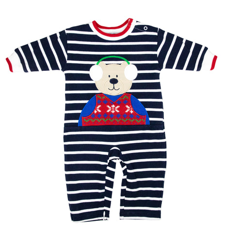 navy stripe longall with bear in sweater and earmuffs