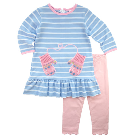 light blue and pink mitten dress with leggings