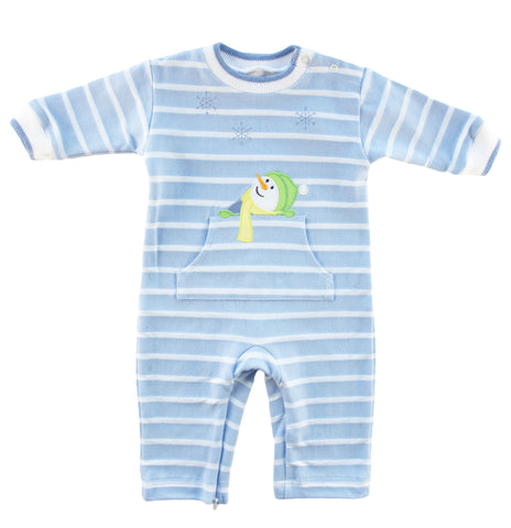 light blue stripe longall with middle pocket and snowman